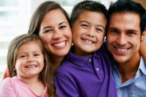 happy family who visits the hutchinson family dentist